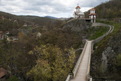 Church in Prolom Spa, wilderness, Pedestrian road to church
