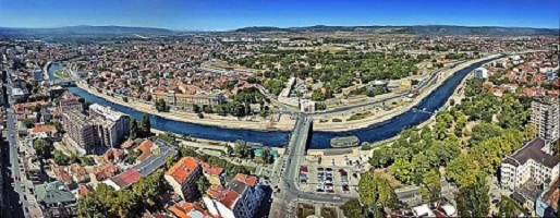 Panorama of city of Niš, rooftop Niš, river Nišava, Niš from air, where is Nis, where is Serbia