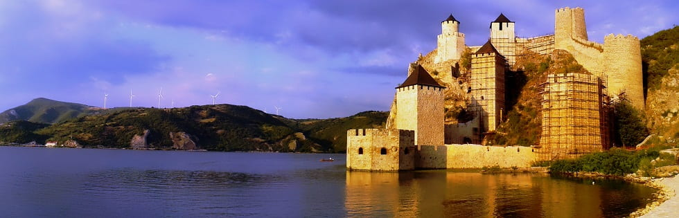 Golubac fortress eastern Serbia panorama, Golubac fortress reconstruction, Golubac panorama, Golubac gorge beauty