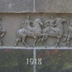 Liberators monument on King Milans square in Niš Serbia year 1918, Liberation of Niš in WWI, Liberation from Bulgarian occupators, Serbian forces entering liberated Niš Serbia