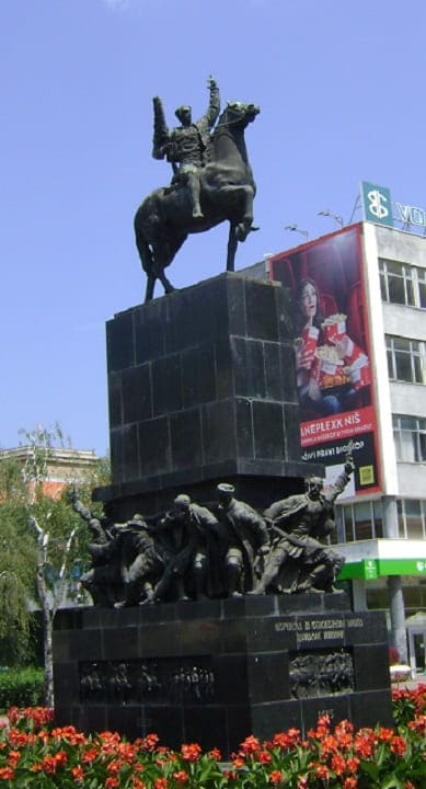 Liberators monument on King Milans square in Niš Serbia, Monument in city of Niš, horseman with fag in center of NIš
