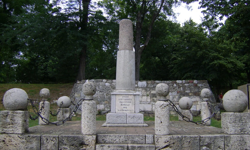 Monument to King Milan in fortress of Niš Serbia, First monument ever built in liberated Niš, Serbia monument