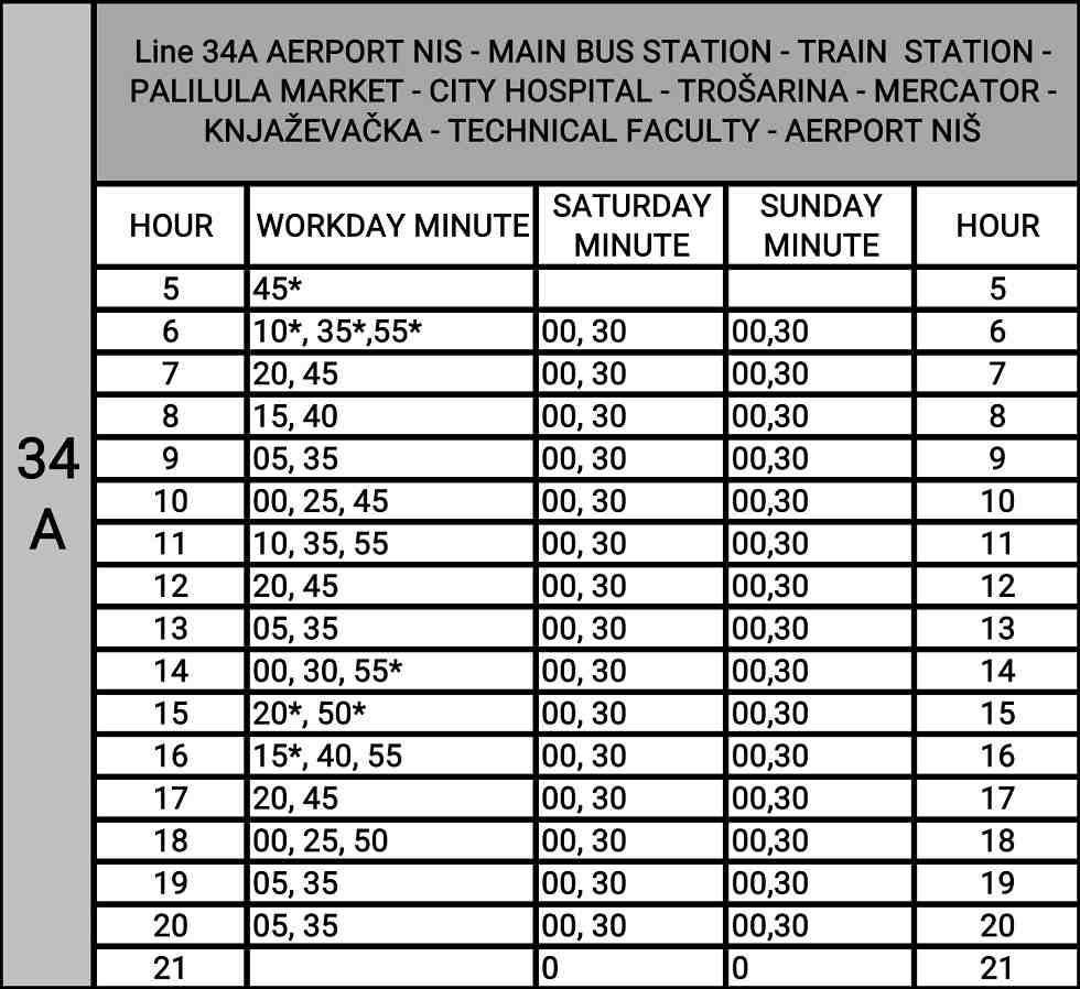 airport Nis bus timetable, 34a line in Nis timetable, circular bus line Nis