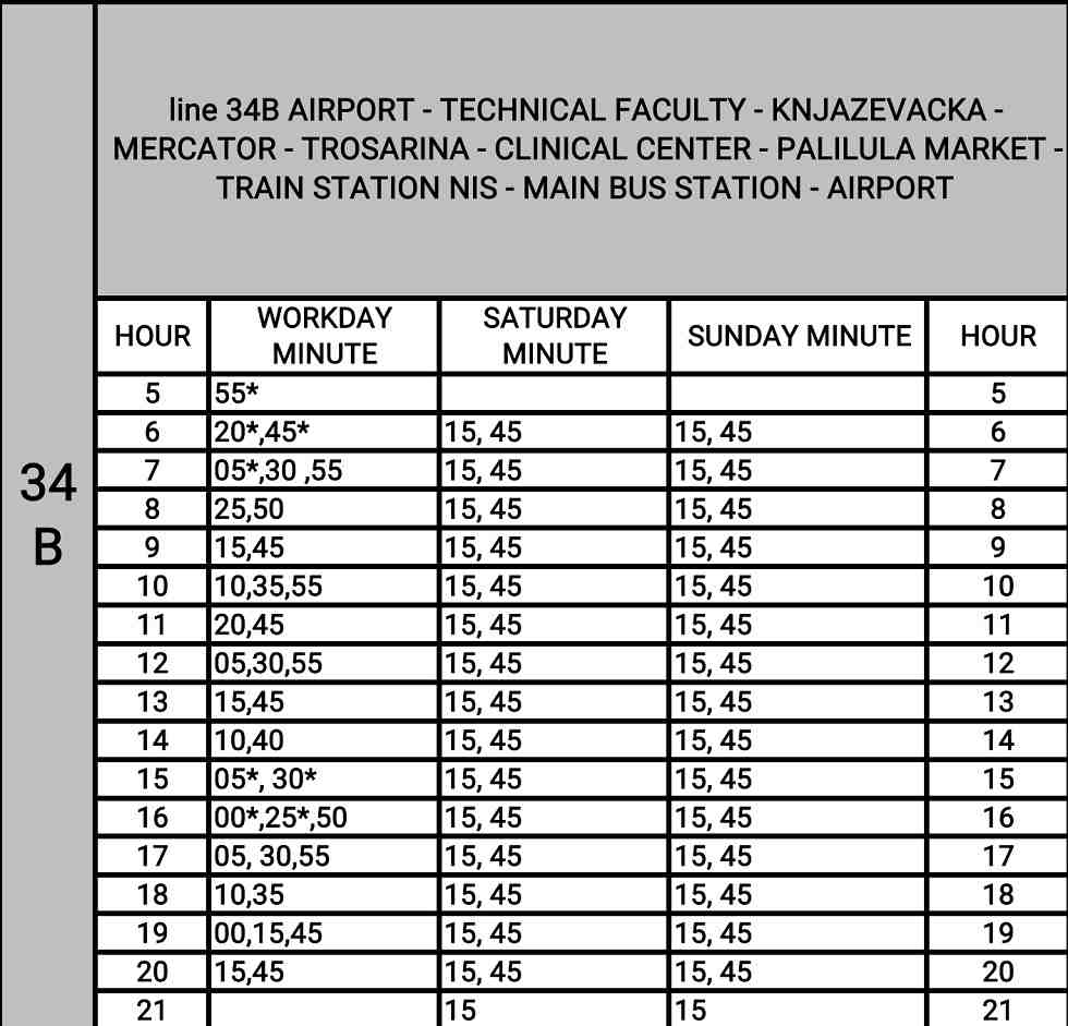 bus to Nis airport timetable, Nis bus timetable, airport Nis bus line 34B