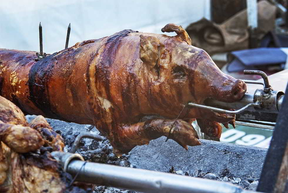 Pig on fire speciality, Grilled pig, Serbian cuisine speciality