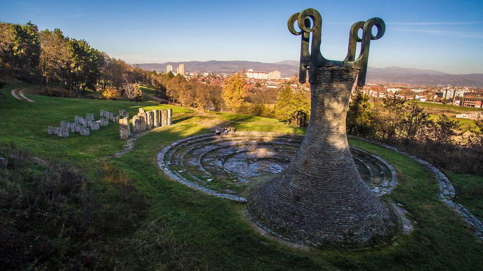 Revoution monument view, Hisar monument, view on a Leskovac from distance