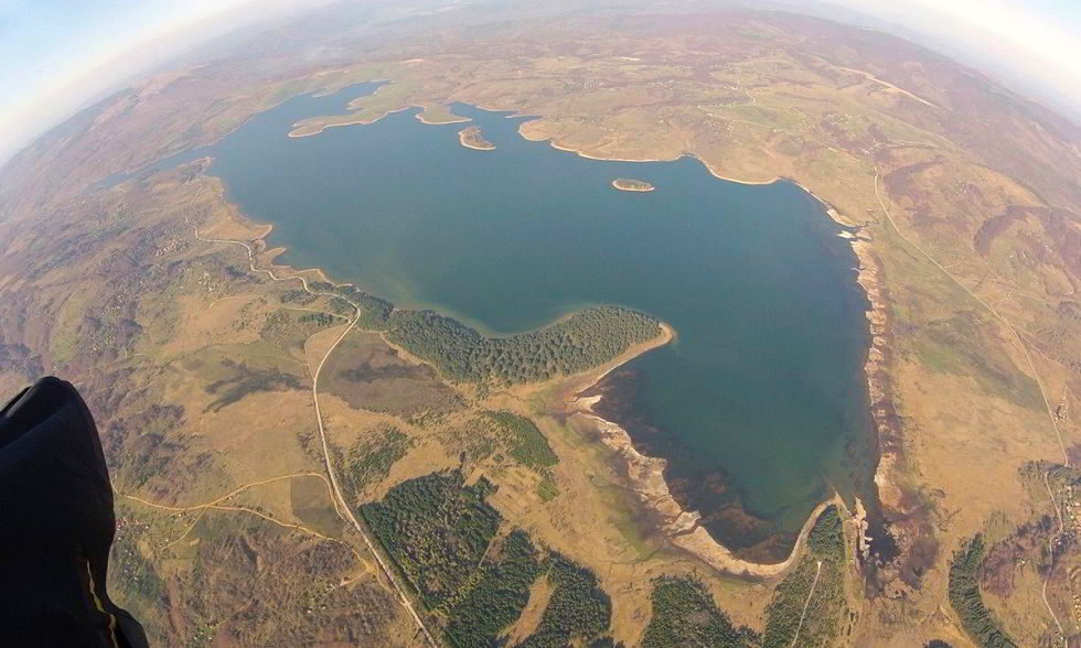 Vllasina from the air, vlasina lake drone photo