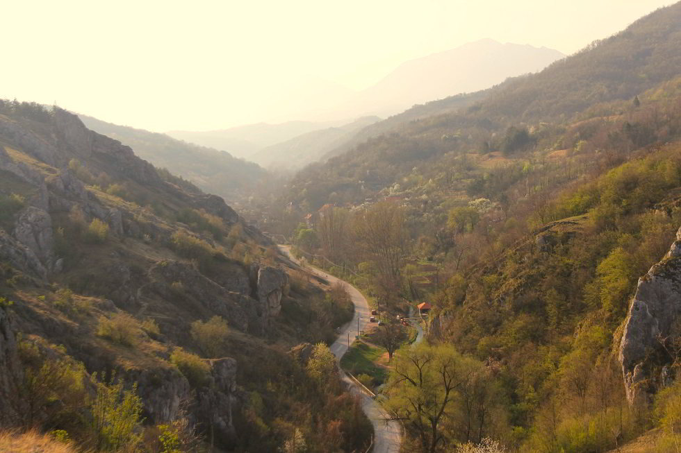 Jelasnica gorge panorama, road in Jelasnica gorge