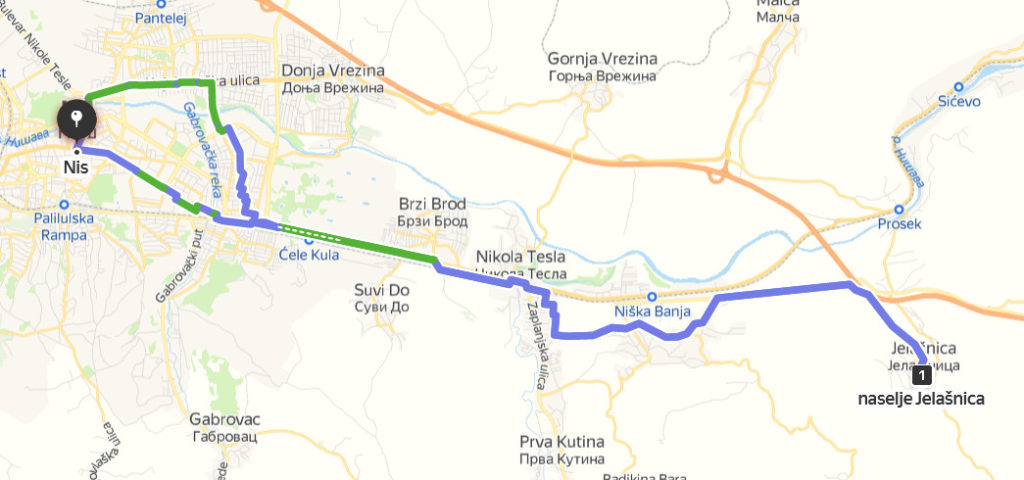 tour for bycicle from Nis to Jelasnica gorge southern Serbia, cycling route Nis Jelasnica
